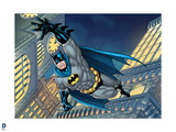 Batman: Batman Jumping Headfirst with One Arm Outstreched and City Behind Him at Night Prints