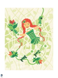 Batman: Cartoon Style Drawing of Poison Ivy Swinging on a Vine Holding a Large Flower Prints