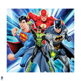 Justice League: Green Lantern with Flash, Superman, Batman with Light Blue Background Posters