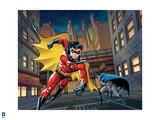 Batman: Robin Running in Front and Batman Slightly Behind Him Holding Batarang in His Hand Prints