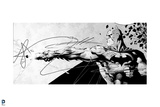 Batman: Black and White Drawing of Batman Shooting Line Out with it Curling Back Towards Him Posters
