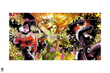 Batman: Harly Quin Poison Ivy and Catwoman All Standing Together with Plants Behind Them Art