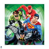 Justice League: Batman with Superman, Green Lantern, Flash with Green Background Prints