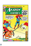 """Superman: Action Comics - Superman, Supergirl, Streaky, Krypto in """"The Battle of the Super-Pets!"""" Prints"""