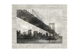 Newsprint City Bridge 1 Giclee Print by Ariane Roko