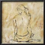 Nude Sketch on Beige II Kunstdruck von Patricia Pinto