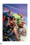 Justice League: Superman, Wonder Woman, Green Lantern, Batman, Aquaman, Cyborg, Batman and Flash Print