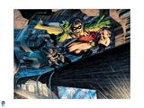 Batman: Batman and Robin Riding the Subway on Top Print