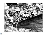 Batman: Batman and Robin Riding the Subway on Top - in Black and White Prints