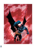 Batman: Batman with Cape Spread Against a Red Sky Posters