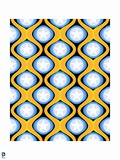 Wonder Woman: Blue, Orange and Black Pattern Design with White Stars Prints