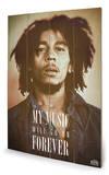 Bob Marley - Music Forever Wood Sign Treskilt
