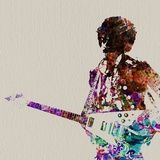 Hendrix With Guitar Watercolor Poster van  NaxArt