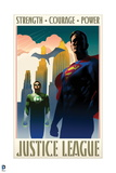 Justice League: Justice League Vintage Style Poster with Superman, Green Lantern, and Batman Prints