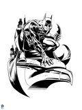 Batman: Line Work of Batman Crouching on a Stone Head with a Batarang Posters