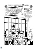 Batman: Linework for an Old Comic Book Cover - Batman Locked Up and Robin with the Keys Prints