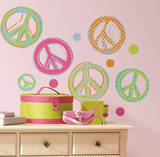 Peace Signs Peel & Stick Wall Decals W/Glitter Wall Decal