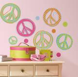 Peace Signs Peel & Stick Wall Decals W/Glitter Vinilo decorativo