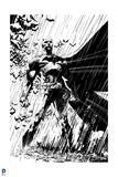 Batman: Batman Standing Heroically in the Rain - in Black and White Prints