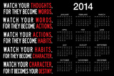 Watch Your Thoughts Motivational 2014 Calendar Poster Posters