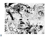 Batman: Batman Panels - Fighting in Fire - in Black and White Prints