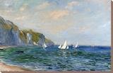 Klippen und Segelboote in Pourville Leinwand von Claude Monet