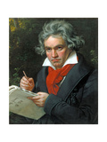 Ludwig Van Beethoven Composing His 'Missa Solemnis', 1820 Stampa giclée di Joseph Karl Stieler