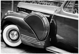 Antique Car With Whitewall Tires B/W Print