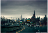 Rainy View of Manhattan from Long Island Expressway Posters