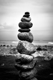 Balancing Rocks on Beach Black White Poster Prints