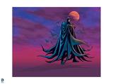 Batman: Batman Standing, The Moon and Bats Flying Behind Posters