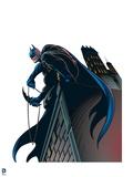 Batman: Batman Looking Down from a Rooftop, Rope and Batarang in Hand Prints