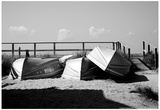 Row Boats on Ocean Beach Fire Island New York B/W Poster