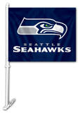 NFL Seattle Seahawks Car Flag with Wall Brackett Flag