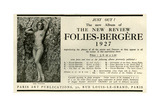 1920s France Folies Bergere Magazine Advertisement - Giclee Baskı