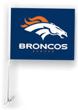 NFL Denver Broncos Car Flag with Wall Brackett Flag