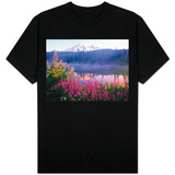 Wildflowers in Bloom by Lake on Mount Rainier Shirts