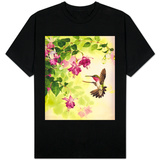 Hummingbird with Flowers T-shirts