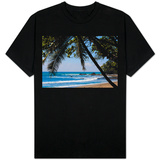 Costa Rica Beach with Tropical Palm Tree Photo T-shirts