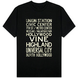 Los Angeles Metro Rail Stations Vintage T-shirts
