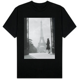 Moody Silhouetted Woman Paris Standing in Trocadero Looking Toward Eiffel Tower T-Shirt