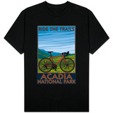 Acadia National Park, Maine - Bicycle Scene T-Shirt