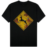 Deer Crossing Hunting Sign T-Shirt