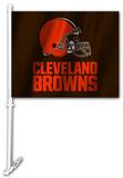 NFL Cleveland Browns Car Flag with Wall Brackett Flag