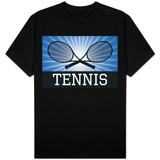 Tennis Crossed Rackets Blue T-Shirt