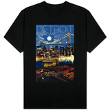 Detroit, Michigan - Skyline at Night Skjorter