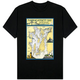 Narragansett Bay, Rhode Island Nautical Chart Shirts