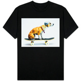 Dog with Helmet Skateboarding T-Shirt