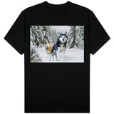 Huskies in Snow T-shirts