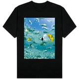 Tropical Fish in Bora-Bora Lagoon T-shirts